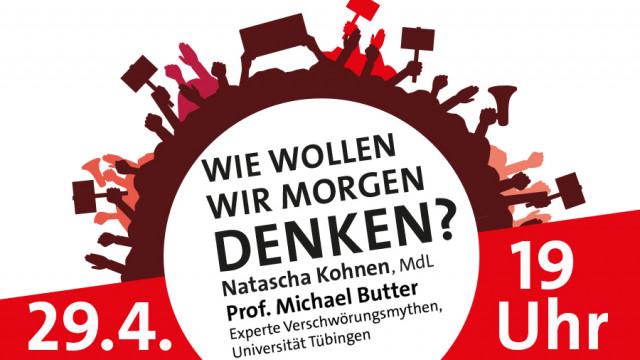 """Plakat zur Veranstaltung """"Wie wollen wir morgen denken?"""" mit Natascha Kohnen und Prof. Michael Butter"""